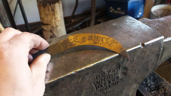 Maker's mark chiseled into backside of the blade.