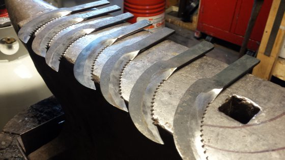 The blades are sharpened, serrations hand filed into the blades and are ready for installation.